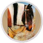 Ladys Jewels Horse Painting Portrait Round Beach Towel