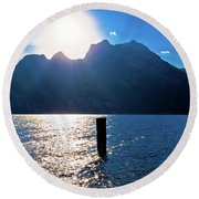 Lago Di Garda At Sunset View Round Beach Towel
