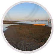 Lagoon At Low Tide Round Beach Towel