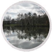 Lagoon Reflection 1 Round Beach Towel