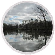 Lagoon Reflections 4 Round Beach Towel