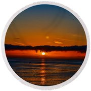 Laguna Beach Sunset Round Beach Towel