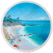 Laguna Beach Umbrellas Round Beach Towel