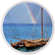 Lahaina Harbor Round Beach Towel