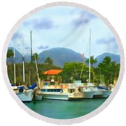 Lahina Harbor Round Beach Towel
