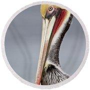 La Jolla Pelican Round Beach Towel