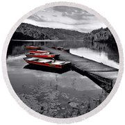 Lake And Boats Round Beach Towel