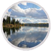 Lake And Clouds Round Beach Towel