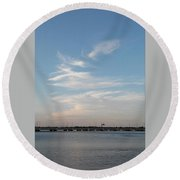 Lake And Clouds2 Round Beach Towel