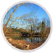 Lake And Trees In Early Spring Round Beach Towel