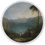 Lake Avernus - Aeneas And The Cumaean Sybil Round Beach Towel
