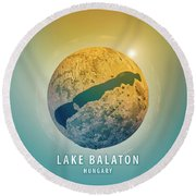Lake Balaton 3d Little Planet 360-degree Sphere Panorama Round Beach Towel