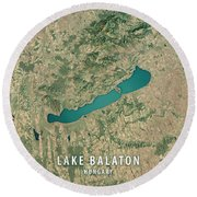 Lake Balaton 3d Render Satellite View Topographic Map Round Beach Towel