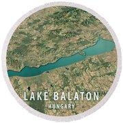 Lake Balaton 3d Render Satellite View Topographic Map Horizontal Round Beach Towel