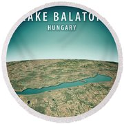 Lake Balaton 3d Render Satellite View Topographic Map Vertical Round Beach Towel