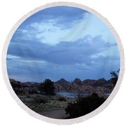 Lake Before A Storm Round Beach Towel