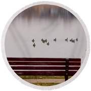 Lake Bench Round Beach Towel