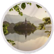 Lake Bled In The Morning Round Beach Towel