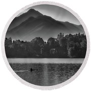 Lake Bled Rower - Slovenia Round Beach Towel