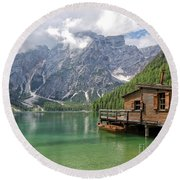 Lake Braies Round Beach Towel