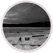 Lake Bw Round Beach Towel