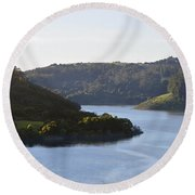 Lake Chabot On A Sunny Day Round Beach Towel