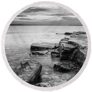 Lake Champlain-vermont-sunrise-storm Round Beach Towel