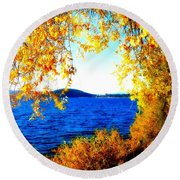 Lake Coeur D'alene Through Golden Leaves Round Beach Towel