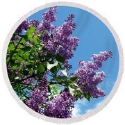 Lake Country Lilacs Round Beach Towel