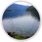 Lake Crescent - Digital Painting Round Beach Towel