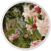 Lake Crescent Lodge Rhododendrons Round Beach Towel