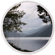 Lake Crescent Through The Trees Round Beach Towel