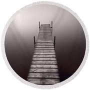 Lake Dock In Michigan Round Beach Towel