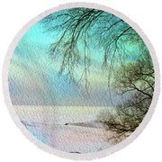 Lake Erie In Winter Round Beach Towel