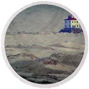 Lake Erie Lighthouse Round Beach Towel