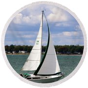 Lake Erie Sailing 8092 Round Beach Towel