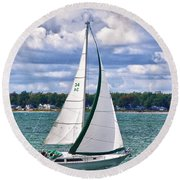 Lake Erie Sailing 8092h Round Beach Towel