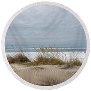 Lake Erie Sand Dunes Dry Grass And Ice Round Beach Towel
