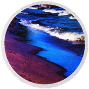 Lake Erie Shore Abstract Round Beach Towel