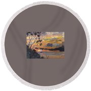 Lake Erie Sunset Round Beach Towel