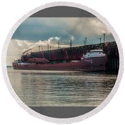 Lake Freighter - Honorable James L Oberstar Round Beach Towel