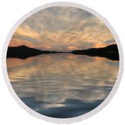 Lake Front Sunset Round Beach Towel