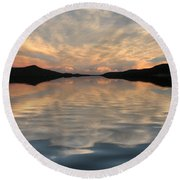 Lake Front Sunset Round Beach Towel