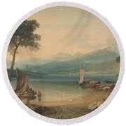 Lake Geneva And Mount Blanc Round Beach Towel