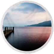 Lake George Sunrise 3 Round Beach Towel
