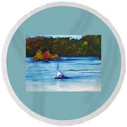 Lake Glenville  Sold Round Beach Towel