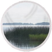 Lake Grasses Round Beach Towel