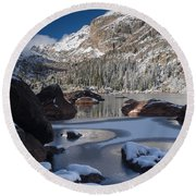 Lake Haiyaha  Round Beach Towel