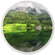 Lake Hintersee Round Beach Towel