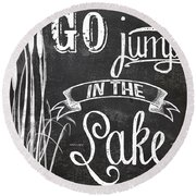 Lake House Rustic Sign Round Beach Towel